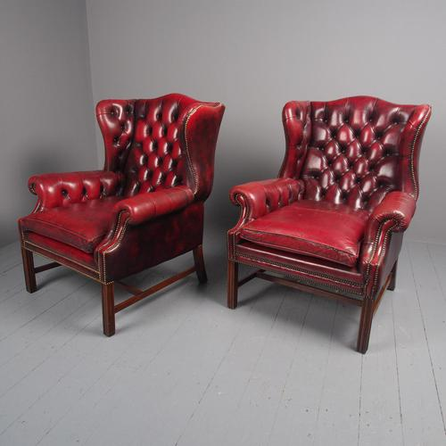 Pair of Red Leather Button Back Wing Chairs (1 of 11)
