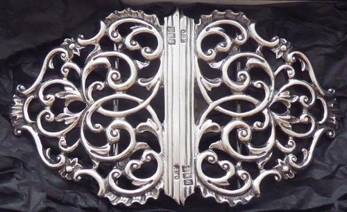 Rare Scottish Victorian 1897 Hallmarked Solid Silver Nurses Belt Buckle Glasgow (1 of 8)