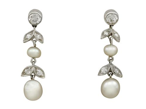 0.56ct Diamond & Natural Pearl, 9ct Yellow Gold Drop Earrings - Antique c.1880 (1 of 9)