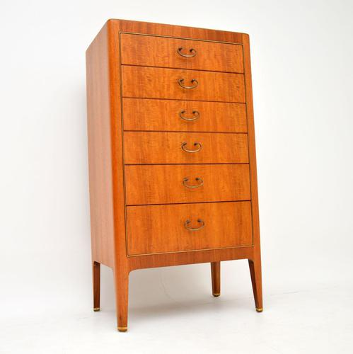 Mahogany & Brass Vintage Tallboy Chest of Drawers (1 of 8)