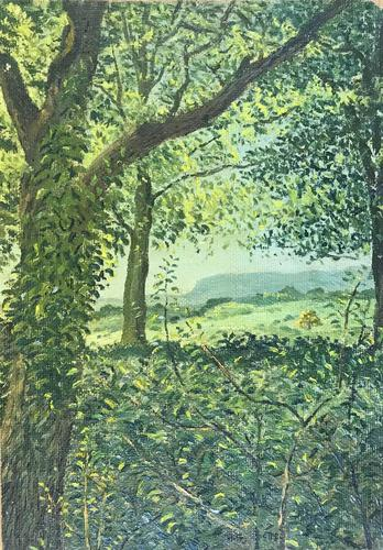Original Oil on Canvas Laid Board 'summer Landscape Through Trees' by Hugh Griffiths. B.1916. Initialled and Dated 48 (1 of 1)