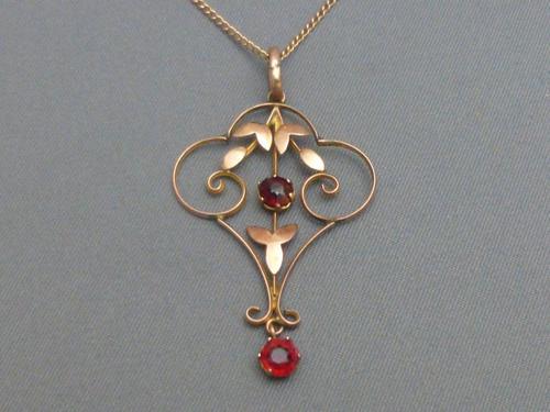 Edwardian 9ct Rose Gold & Garnet Pendant Chain (1 of 6)
