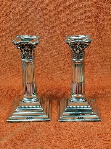A Pair of Antique Sterling Silver Hallmarked 1895 Candle Sticks (1 of 12)