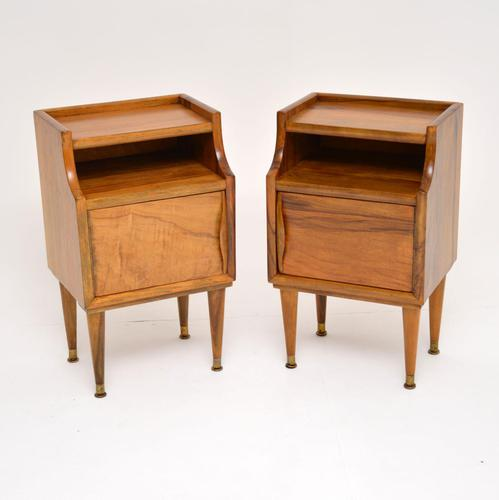 1960's Pair of Vintage Italian Walnut Bedside Cabinets (1 of 10)
