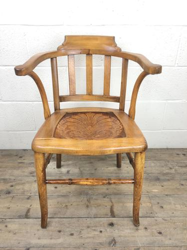 Early 20th Century Beech Smoker's Chair with Pokerwork Seat (M-1591) (1 of 8)