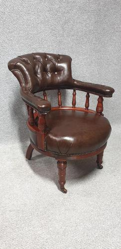 Super Victorian Walnut Leather Desk Chair (1 of 7)