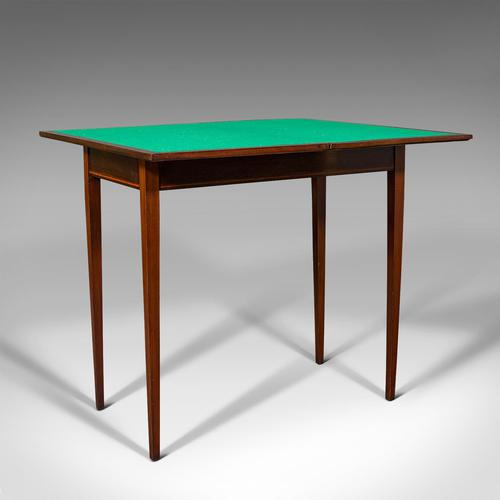 Antique Fold Over Card Table, English, Mahogany, Games, Occasional, Edwardian (1 of 12)