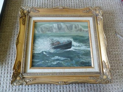 """Fine """"Lifeboat in Stormy Sea"""" oil on canvas- signed """"Cheyne """" (1 of 5)"""