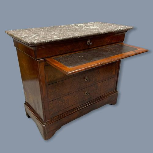 French Marble Top Commode with Writing Surface (1 of 9)