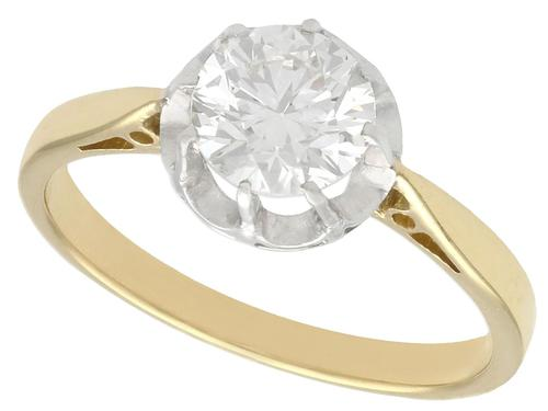1.07ct Diamond & 18ct Yellow Gold Solitaire Ring - Antique c.1920 (1 of 9)