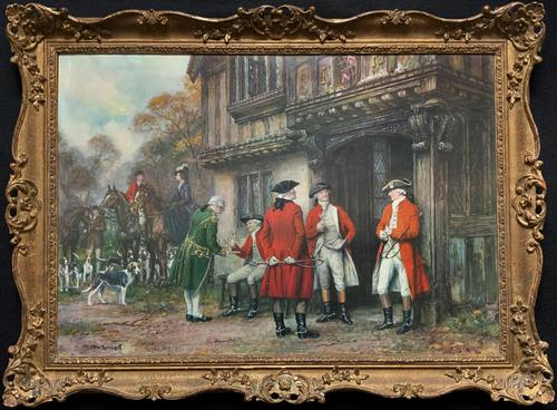 ''Before The Hunt'' Wonderful Large Vintage 18th Century Style Print on Board Picture (1 of 12)