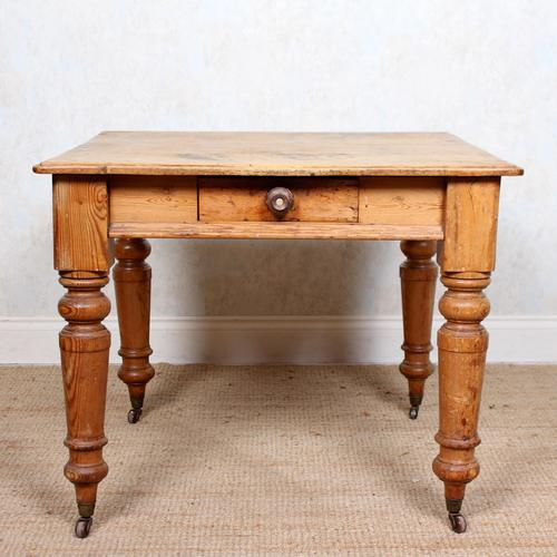 19th Century Pine Dining Table Fitted Drawer (1 of 11)
