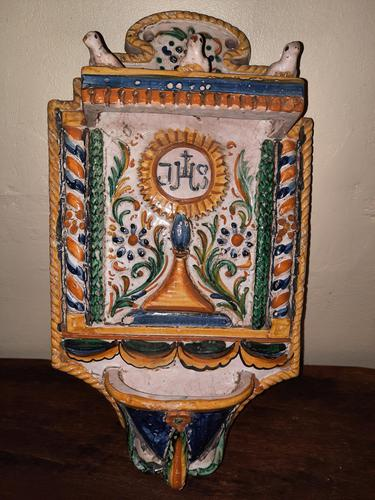 Baroque Italian Majolica Holy Water Stoup c.1740 (1 of 10)