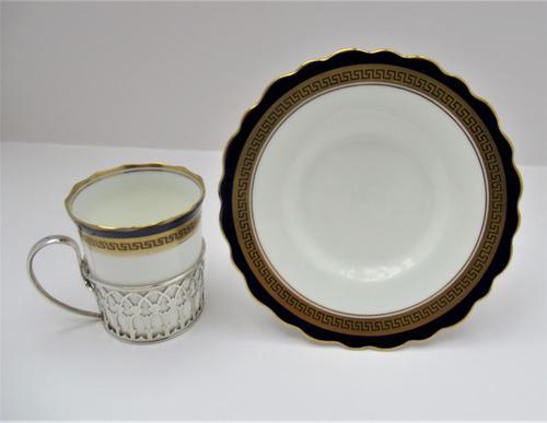Aynsley Bone China Coffee Cup & Saucer, Silver Mount, Adie Bros Ltd, Birmingham 1930 (1 of 9)