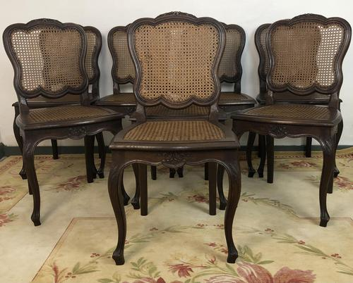 Antique French Set Of 8 Bergère Cane Dining Chairs (1 of 12)