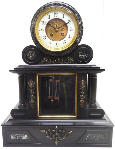 Fine Antique French Slate & Marble Regulator Mantel Clock 8 Day Striking Mantle Clock with Visible Jewelled Escapement (1 of 12)
