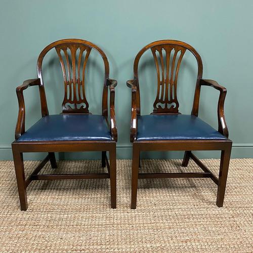 Elegant Pair of Edwardian Walnut Hepplewhite Design Antique Carver Chairs (1 of 7)