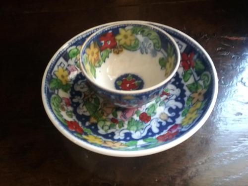 Polychrome Teabowl & Saucer (1 of 7)