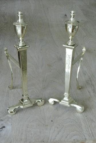 Quality Pair of Large Edwardian Adam Style Urn Brass Fire Dogs Fire Iron Rest Andirons c.1905-1910 (1 of 8)