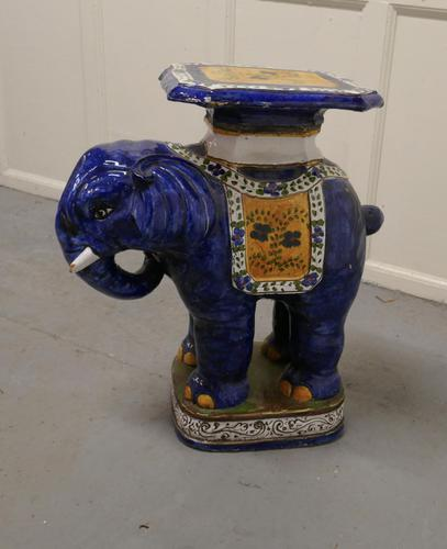 Colourful North African Terracotta Elephant Statue Seat (1 of 10)
