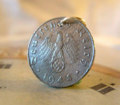 Vintage Pocket Watch Chain Fob 1944 WW2 German Reich 10 Pfennig Eagle Coin Fob (1 of 4)