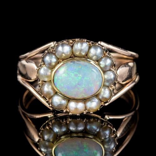 Antique Georgian Opal Pearl Ring 18ct Gold 1.50ct Natural Opal c.1830 (1 of 5)
