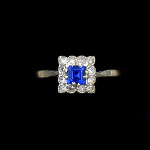 Art Deco Blue Spinel and Clear Spinel 9ct Gold Square Cluster Ring (1 of 9)