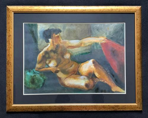 20th Century British School Reclining Nude Female Portrait - Watercolour & Body Wash (1 of 12)
