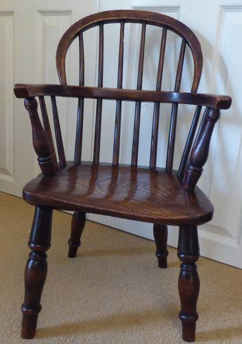Victorian Ash & Elm Wood Childs Windsor Chair c.1840 (1 of 14)