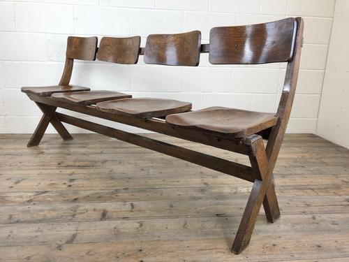 Antique Victorian Elm Four Seater Bench (M-717) (1 of 12)