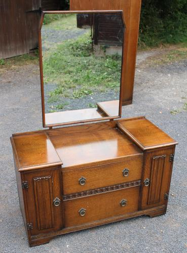 1940s Oak Dressing Table with Linen Fold Detail (1 of 4)
