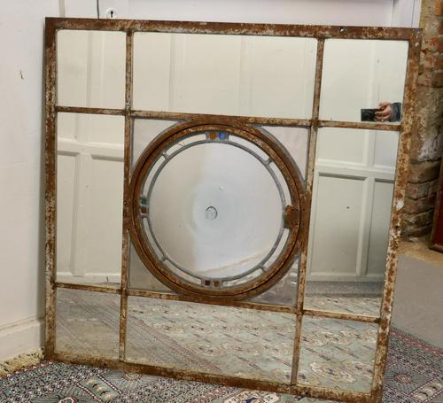 Large 19th Century Industrial Window Mirror with Central Leaded Bottle Glass Opening (1 of 8)