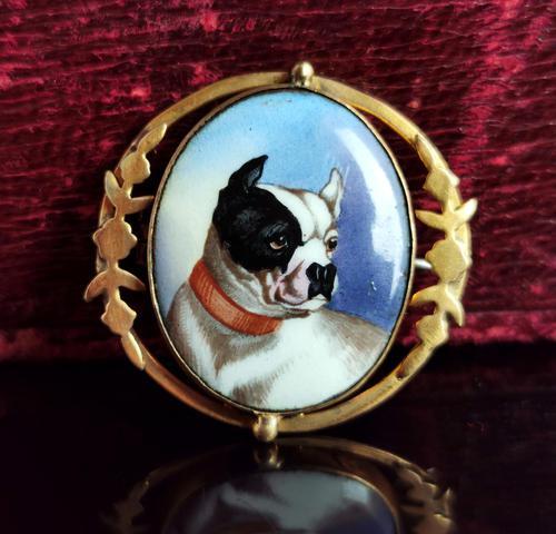 Victorian Enamel Bulldog Brooch (1 of 11)