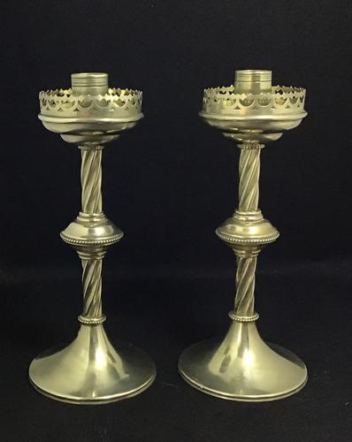 Pair of Brass Gothic Revival / Altar / Church / Ecclesiastical  Candlesticks (1 of 5)