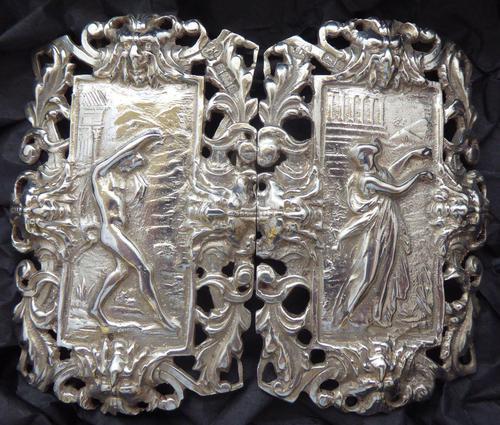 Rare Edwardian Shakespeare 1904 Hallmarked Solid Silver Nurses Belt Buckle (1 of 10)