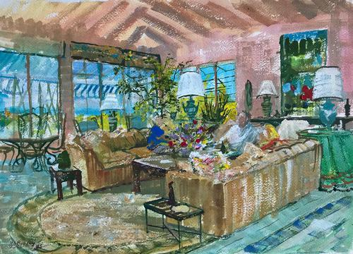Original gouache painting 'Conversation in an interior' by Barbara Lady Brassey 1911-2010.Signed and dated 85 (1 of 1)