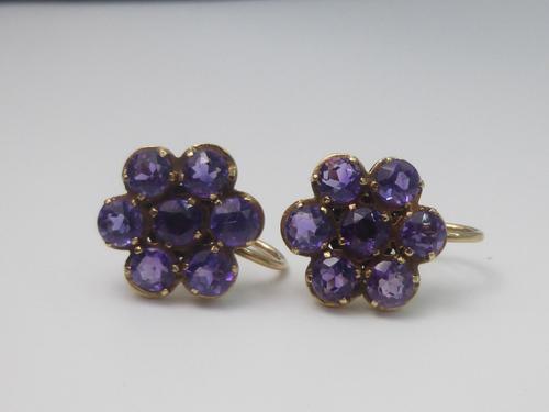 Pair of 9ct Gold, Amethyst Earrings (1 of 7)