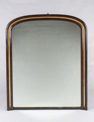 Large 19th Century English Lacquered & Gilt Overmantle Mirror (1 of 6)