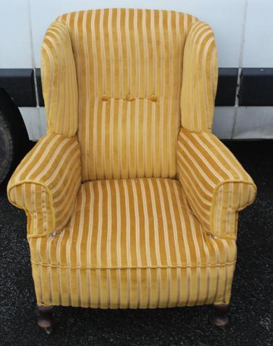 1940s Mahogany Wingback Armchair Upholstered in Gold. Nice Shape (1 of 3)