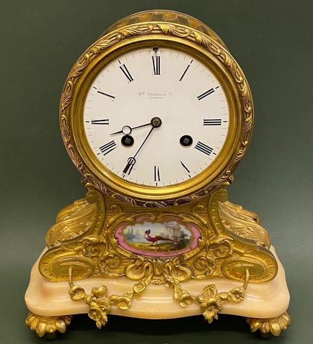 Attractive French Ormolu & Porcelain-mounted Mantel Clock (1 of 6)