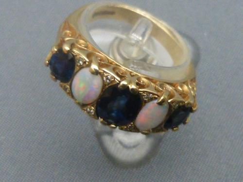 9ct Gold, Sapphire, Opal & Diamond Ring (1 of 6)
