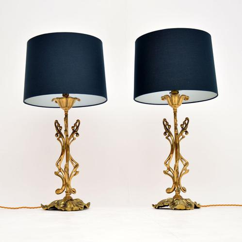 Pair of Vintage Italian Brass Table Lamps (1 of 9)