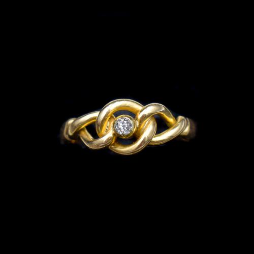 Antique Old Cut Diamond Lovers Knot 18ct 18k Yellow Gold Ring Band (1 of 10)