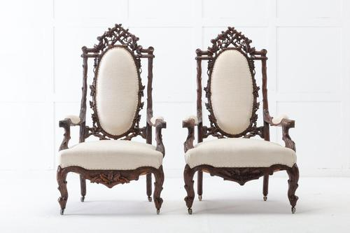 Pair of 19th Century Black Forest Open Armchairs (1 of 10)
