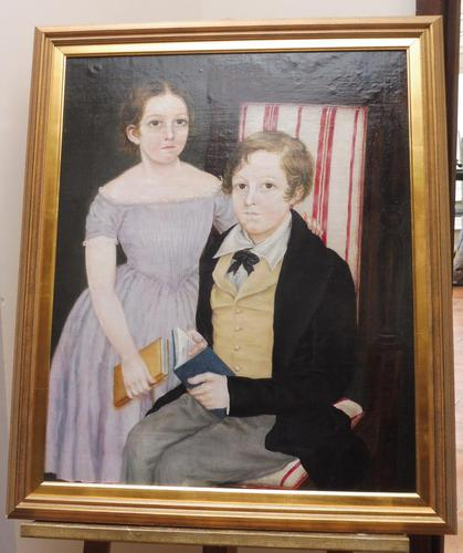 Large Oil on Canvas Portrait of Brother & Sister 1860 (1 of 13)