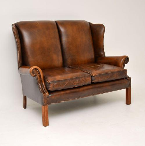 Antique Georgian Style Leather Wing Back Sofa (1 of 11)