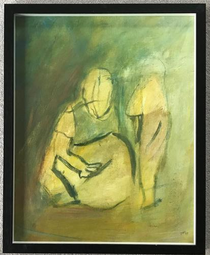 Original oil on canvas 'Mother and child' by Doreen Heaton Potworowski. 1920-2014. Initialled 1973. Framed. (1 of 2)