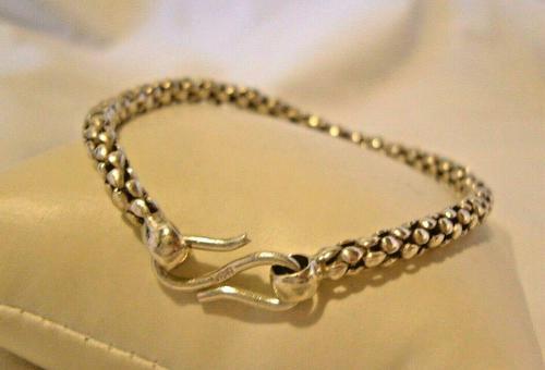 "Vintage Silver 925 Popcorn Bracelet 1970s Big Shepherds Hook Clasp 7 3/4"" Length (1 of 11)"