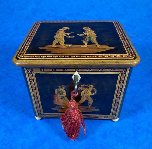 Mid Victorian Sorento Ware Inlaid Single Tea Caddy (1 of 7)