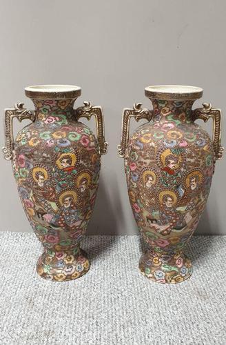 Large Pair of Satsuma Vases (1 of 9)